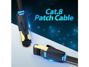 Cat8 Ethernet Cable,High Speed 28AWG Cat8 LAN Network Cable 40Gbps 2000Mhz SFTP Patch Cord with Gold Plated RJ45 Connector in Wall, Outdoor, Weatherproof Rated for Router, Modem, Gaming (2m/6ft)