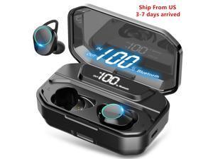 Wireless Earbuds, Nurbenn Bluetooth 5.0 Headphones True Wireless Ear Buds IPX7 Waterproof Dual Built-in Mic Earphones with 4000mAh Charging Case for 120H Extended Playtime
