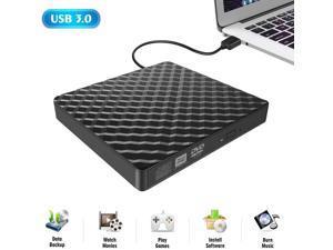 External DVD Drive, Nurbenn USB 3.0 Portable CD/DVD+/-RW Drive/DVD Player for Laptop CD ROM Burner Compatible with Laptop Desktop PC Windows Linux OS Apple Mac