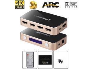 HDMI Switch with Audio Extractor, 4K@60Hz 4 Port 4 in 1 Out HDMI Switcher with Optical TOSLINK SPDIF, 3.5mm Audio Jack Support ARC Function, 1080P @120Hz, 4Kx2K@60Hz HDTV (IR Wireless Remote Control)