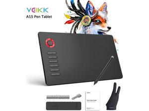 Graphics Drawing Tablet VEIKK A15 10x6 inch Graphic Pen Tablet with Battery-Free Passive Stylus and 12 Shortcut Keys
