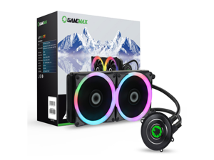 GameMax Iceberg 240mm Water Cooling System with 7 Colour PWM Fan - Black