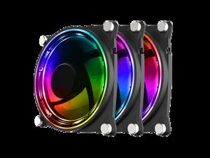 GMX 3Pack 120mm ARGB Case Fan CPU Cooling Fan 5V ARGB MB Aura Sync PWM Fan for CPU Cooler/Raidator/PC Chassis