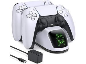 PS5 Charging Station, PS5 Controller Charger Station for Dualsense Controller, Upgrade PS5 Controller Charger with 5V/3A Fast Charging AC Adapter, Nurbenn PS5 Charger Stand for Dual Controller