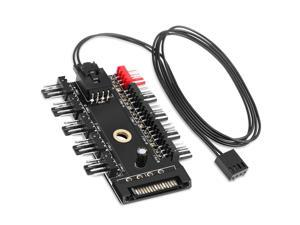 Nurbenn Chassis Fan Hub CPU Cooling HUB 10 Port 12V 4 Pin Fan PWM Fan Hub SATA Controller