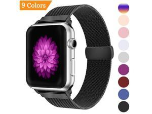 Milanese Loop Band for Apple Watch 38mm,Stainless Steel Mesh Band with Magnetic Closure for iWatch Series 3 2 1 -  Black