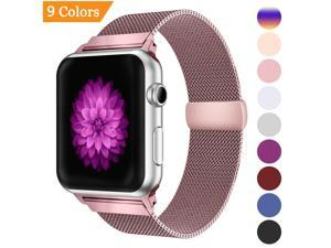 Milanese Loop Band for Apple Watch 42mm,Stainless Steel Mesh Band with Magnetic Closure for iWatch Series 3 2 1 -  Rose gold