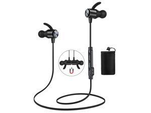 ATGOIN Bluetooth 4.1 Magnetic Wireless Sports Earphones W/Mic HD Stereo Sweatproof in Ear Earbuds Noise Cancelling - Black