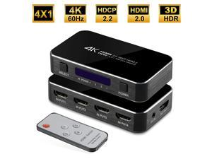 HDMI Switch, Nurbenn 4 Ports 4K 60Hz HDMI 2.0 Switcher Selector with IR Wireless Remote, Supports UltraHD Dolby Vision, High Speed(Max to 18.5Gbps), HDR10, HDCP 2.2 & 3D