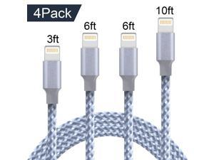 iPhone Charger Cable, Nurbenn MFi Certified Lightning Cable 4 Pack[3/6/6/10FT]Extra Long Nylon Braided USB Charging & Syncing Cord Compatible iPhone Xs/Max/XR/X/8/8Plus/7/7Plus/iPad - Silver/white