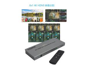 XOLORspace QV801 8x1 4K HDMI Quad Multiviewer 8 HDMI Screen Splitter with Seamless Switching
