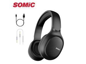 SOMiC Bluetooth Headphones Wireless 72H Playtime CVC8.0 Noise Reduction Hi-Res Certified Sound Headset Comfortable to Wear MS300