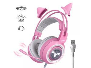 SOMIC G951 Pink Lovely Cat Shape Noise Cancelling Girl Gaming Headphones, Virtual 7.1 Surround Sound Effect Headset with SVE Vibration and Cute LED Light Pattern For PS4 PC Laptop Games