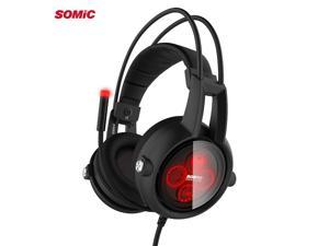 Somic E95X PS4 Physics 5.2 Multi-channel Vibration USB Headset, Super Bass Noise Canceling Headphones with LED, Microphone For FPS PS4 Computer Games