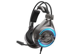 SENICC A6 Wired USB LED PS4 Gaming Headset, Noise Isolation PC Games Headphones, Flying Wing Design, Rotatable Microphone