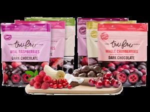 Tru Fru Best Seller Sampler Pack: Raspberries, Cherries, Strawberries, Bananas, Cranberries and Coconut Melts Freeze Dried Fresh and Immersed in Premium Dark Chocolate, 6 Pack