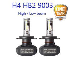 2PCs H4 Car Headlight Bulb 8000 Lumen S1 H7 H4/9003/HB2 High & Low Beam White Light 6000K Car Headlamp H4