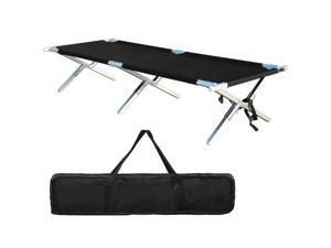 Portable Folding Bed Camping Outdoor Military Bed Aluminum Lightweight Camp for Adult for Tent Camp Bed Black