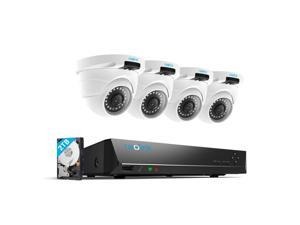 Reolink 4pcs 4MP Wired Outdoor 1440P PoE IP Cameras & 8MP 5MP 4MP Supported 8 Channel NVR Security System w/ 2TB HDD for 7/24 Recording RLK8-420D4