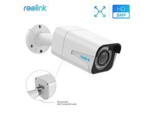 Reolink 5MP Super HD PoE Security Camera 4X Optical Zoom Autofocus Built-in Micro SD Card Slot IP66 Waterproof Bullet Outdoor Indoor CCTV IP Camera IR Night Vision, RLC-511-5MP
