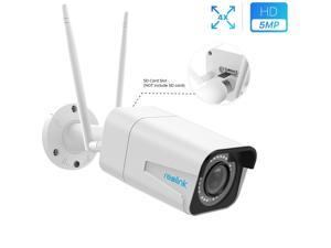 Reolink 5MP HD Plug-in WiFi IP Camera 4X Optical Zoom, Dual-Band 2.4/5GHz WiFi Outdoor Security Camera, IP66 Waterproof IR Night Vision Motion Detection, Built-in Microphone, Remote Viewing, RLC-511W