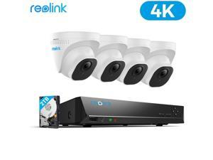 Reolink 4K Ultra HD 8MP PoE Security Camera System, 4x 8MP Outdoor PoE IP Camera w/ 8-Channel 2TB HDD NVR for 24/7 Recording, Remote Access, RLK8-800D4