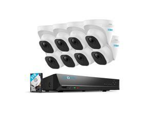 Reolink 4K 16CH PoE CCTV Camera Systems, 8pcs 8MP Outdoor PoE Security IP Cameras, 4K NVR with 3TB HDD, Night Vision 24/7 Recording Audio, RLK16-800D8