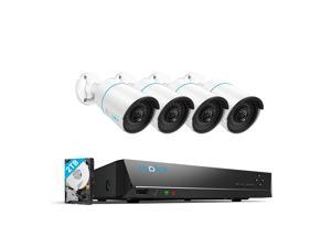 Reolink 8CH 5MP Outdoor Security Camera System, 4pcs Smart Person/Vehicle Detection 5MP Wired PoE Bullet IP Cameras, 8CH 4K NVR with 2TB HDD for 24/7 Recording, RLK8-510B4-A