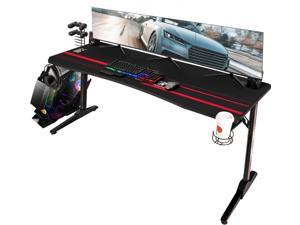 Devoko 63 Inch Gaming Desk T-Shaped PC Computer Table with Free Mouse Pad Carbon Fibre Surface Home Office Desk Gamer Table with Game Handle Rack Headphone Hook and Cup Holder (Black)