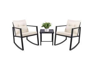 Devoko 3 Piece Rocking Bistro Set Wicker Patio Outdoor Furniture Porch Chairs Conversation Sets with Glass Coffee Table (Beige)
