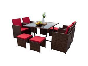 Devoko 9 Pieces Patio Dining Sets Outdoor Space Saving Rattan Chairs with Glass Table Patio Furniture Sets Cushioned Seating and Back Sectional Conversation Set (Brown/Red)