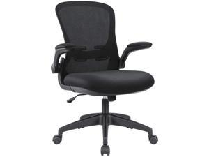 Devoko Office Desk Chair Ergonomic Mesh Chair Lumbar Support with Flip-up Arms and Adjustable Height (Black)