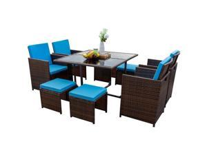 Devoko 9 Pieces Patio Dining Sets Outdoor Space Saving Rattan Chairs with Glass Table Patio Furniture Sets Cushioned Seating and Back Sectional Conversation Set (Brown/Blue)