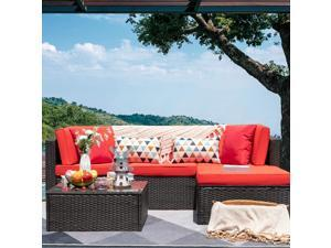 Devoko 5 Pieces Patio Furniture Sets All-Weather Outdoor Sectional Sofa Manual Weaving Wicker Rattan Patio Conversation Set with Cushion and Glass Table (Red)