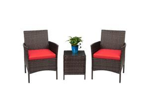 Devoko Patio Porch Furniture Sets 3 Pieces PE Rattan Wicker Chairs with Table Outdoor Garden Furniture Sets (Brown/Red)
