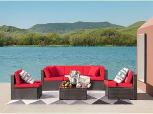 Devoko Patio Furniture Sets 6 Pieces Outdoor Sectional Rattan Sofa Manual Weaving Wicker Patio Conversation Set with Glass Table and Cushion (Red)