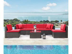 Devoko 7 Pieces Outdoor Sectional Sofa Patio Furniture Sets Manual Weaving Wicker Rattan Patio Conversation Sets with Cushion and Glass Table (Red)