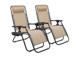 Devoko Patio Zero Gravity Chair Outdoor Free Folding Adjustable Chaise Lounge Chairs Beach Pool Side Using Reclining with Pillow Set of 2 (Beige)
