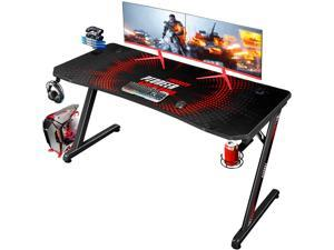Devoko Gaming Desk 55 Inch Computer Gaming Desk Z-Shaped Pc Gaming Desk with Carben Fiber Surface Gamer Desk with Free Mouse Pad Home Office Desk with Cup Holder and Headphone Hook (Black)