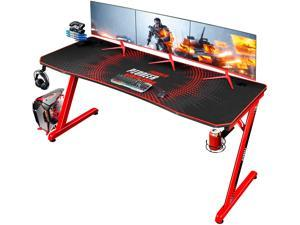 Devoko Gaming Desk 63 Inch Computer Gaming Desk Z-Shaped Pc Gaming Desk with Carben Fiber Surface Gamer Desk with Free Mouse Pad Home Office Desk with Cup Holder and Headphone Hook (Red)