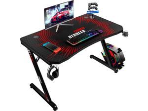Devoko Gaming Desk 44 Inch Computer Gaming Desk Z-Shaped Pc Gaming Desk with Carben Fiber Surface Gamer Desk with Free Mouse Pad Home Office Desk with Cup Holder and Headphone Hook (Black)