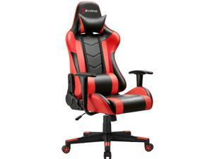 Devoko Ergonomic Gaming Chair Racing Style Adjustable Height High-back PC Computer Chair With Headrest and Lumbar Massage Support Executive Office Chair (Red)