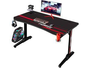 Devoko 43 Inch Gaming Desk T-Shaped PC Computer Table with Free Mouse Pad Carbon Fibre Surface Home Office Desk Gamer Table with Game Handle Rack Headphone Hook and Cup Holder (Black)