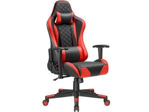 Devoko High Back Ergonominc Gaming Chair Adjustable Height Racing Computer Chair with Headrest and Lumbar Support (Red)
