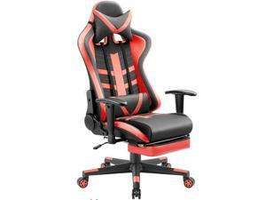 Devoko Ergonomic High-Back Racing Gaming Chair with Leather Bucket Seat, Headrest, Footrest and Lumbar Support (Black/Red)