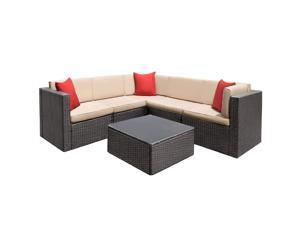 Devoko Patio Furniture Sets 6 Pieces All-Weather Outdoor Sectional Sofa Manual Weaving Wicker Rattan Patio Conversation Set with Cushion and Glass Table (Beige)