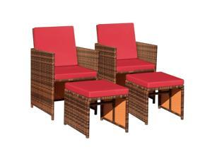 Devoko 4 Pieces Patio Wicker Furniture Set Outdoor Patio Chairs with Ottomans All Weather Cushioned Chairs Balcony Porch Furniture (Red)