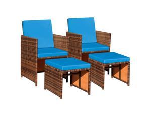 Devoko 4 Pieces Patio Wicker Furniture Set Outdoor Patio Chairs with Ottomans All Weather Cushioned Chairs Balcony Porch Furniture (Blue)