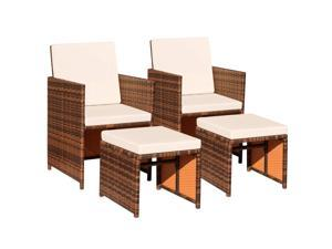 Devoko 4 Pieces Patio Wicker Furniture Set Outdoor Patio Chairs with Ottomans All Weather Cushioned Chairs Balcony Porch Furniture (Beige)