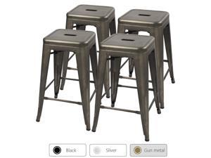 Devoko Metal Bar Stools 24'' Indoor Outdoor Stackable Barstools Modern Style Industrial Vintage Counter Bar Stools Set of 4 (Gun)
